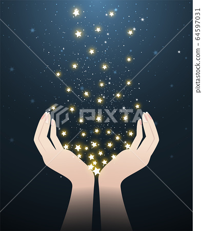 two hands and stars in starry night 64597031