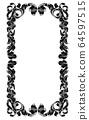 Filigree Heraldry Leaf Pattern Floral Border Frame 64597515