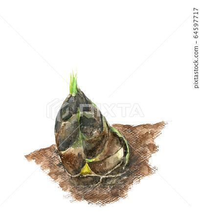 Watercolor bamboo shoot digging bamboo shoots soil mud 64597717