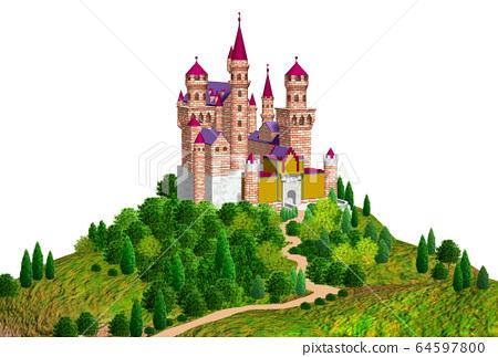 언덕 유럽의 성 그림 64597800