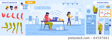 Coworking Space and Character Constructor Set 64597881