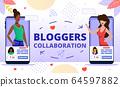 Popular Bloggers Collaboration Flat Vector Concept 64597882