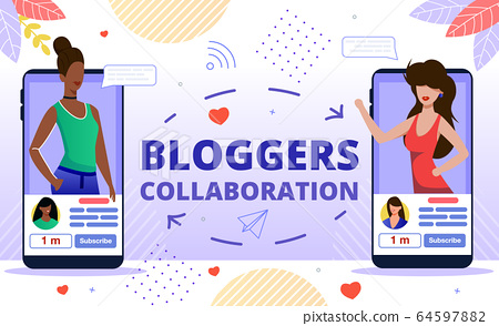 Popular Bloggers Collaboration Flat Vector Concept 64597882