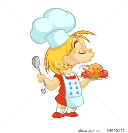 Cartoon small girl holding Thanksgiving Turkey on a tray 64600191