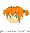 Beautiful red hair girl icon. Cartoon vector illustration isolated 64600194