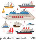 Water Transport Collection, Fishing Boat, Cruise Liner, Sailboat, Vintage Sailing Ship, Motorboat, Sea or Ocean Transportation Vector Illustration 64600590