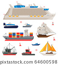 Water Transport Collection, Fishing Boat, Cruise Liner, Sailboat, Cargo Ship, Motorboat, Sea or Ocean Transportation Vector Illustration 64600598