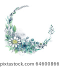 Beautiful wreath of hand drawn watercolor herbs and wildflowers. 64600866