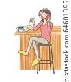 Remote work female counter 64601395