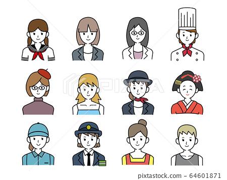 女性職業圖標素材 64601871