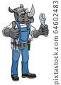 Rhino Plumber Or Mechanic Holding Spanner 64602483