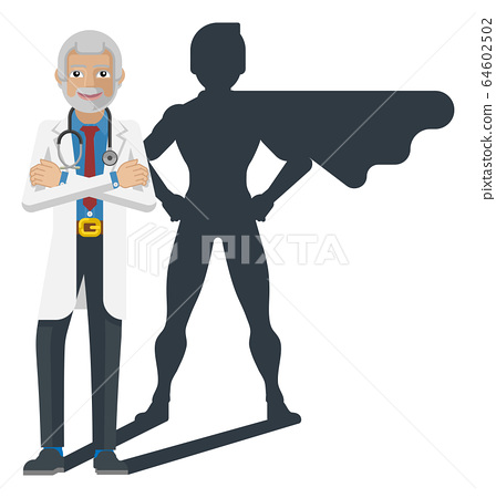 Young Medical Doctor Super Hero Cartoon Mascot 64602502