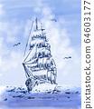 Sailboat pen drawing 64603177