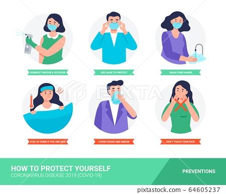 Coronavirus disease protection tips. 64605237