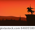 medieval town and fairy tale king riding horse vector silhouette scene 64605580