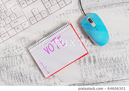 Conceptual hand writing showing Vote. Business 64606301