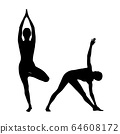 Collage of black silhouettes of woman doing yoga exercise. 64608172