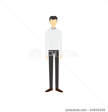 직립하는 간단한 얼굴없는 남성 인물 일러스트 64609266