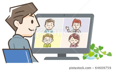 遠程工作在線視頻會議 64609759