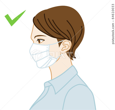 Example of wearing a correct mask Illustration side profile Upper body 64610033
