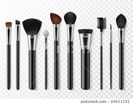 Makeup brushes. Realistic professional makeup artist tools for model face, fashion accessory for cosmetics, woman style vector set 64611191