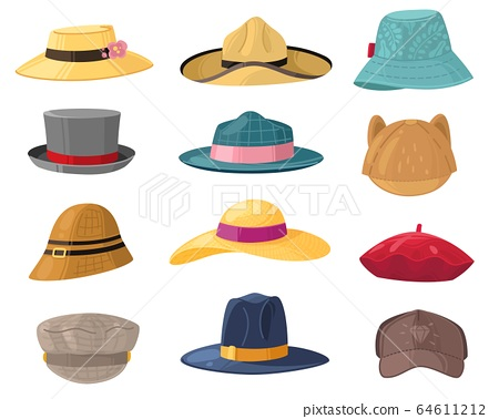 Man and woman hats. Fashion headwear for ladies and gentlemen, vintage and classic headdress beret, cap, beach panama hat vector set 64611212