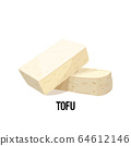 piece of tofu soy bean curd cheese isolated on white background vegan protein concept 64612146