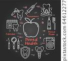 Vector black line round concept - apple dental health 64612277