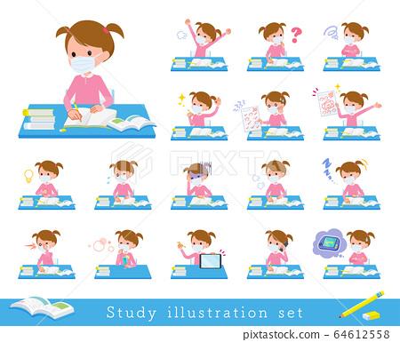 flat type mask Pink clothing girl_Study 64612558