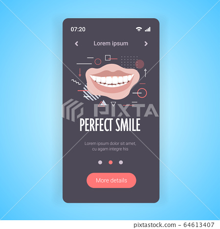 closeup beautiful woman smiling perfect smile dental care and whitening teeth smartphone screen 64613407