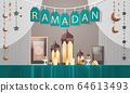 lanterns candles ramadan kareem muslim religion holy month decoration greeting card 64613493