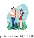 A young couple of people are spending their time together. Man gives a present to his embarrassed girlfriend. Pure love and a good relationship. Retro colors in cartoon flat style. 64613538