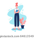 Happy businesswoman in full height. Se is holding the office desk. Old fashioned clothes with a modern haircut. Isolated cartoon flat vector illustration. 64613549
