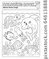 Coloring book marine life theme 3 64613888