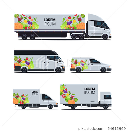 set realistic van truck trailer with organic vegetables natural vegan farm food delivery service different vehicles with fresh veggies flat 64613969