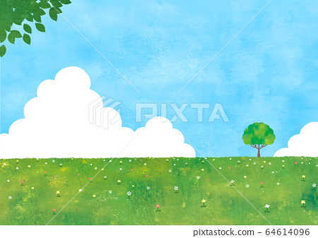 夏天的天空,草地和樹木的水彩 64614096