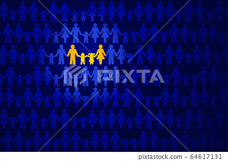 Traditional family image. Family holding hands, highlighted in yellow, in a crowd of people over dark blue. Symbolic family image, consisting of father, mother, daughter and son. Illustration. Vector. 64617131