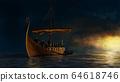 Viking ship under the gold shine. 64618746