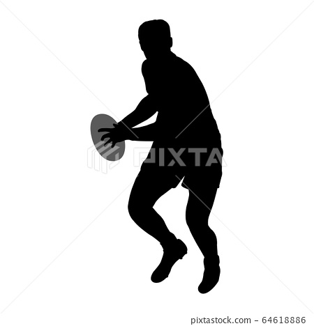 rugby player silhouette - vector 64618886