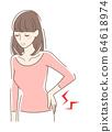 Women suffering from low back pain 64618974