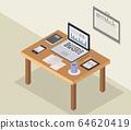 isometric office desk 64620419