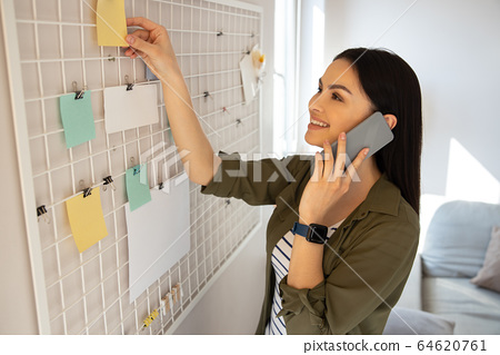 Gladsome lady working from home and talking to her client on the phone 64620761