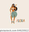 Hawaiian girl is dancing hula in traditional clothes 64620922