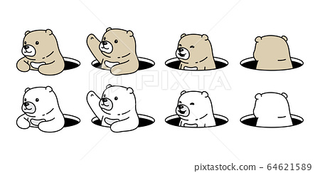 Bear vector polar bear hole hide icon logo teddy cartoon character symbol illustration doodle design 64621589