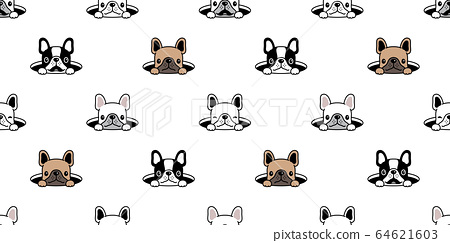 dog seamless pattern french bulldog hole hide vector scarf isolated repeat wallpaper tile background cartoon pet puppy head doodle illustration design 64621603