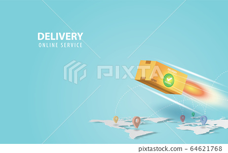 Online delivery concept idea.Fast respond delivery 64621768