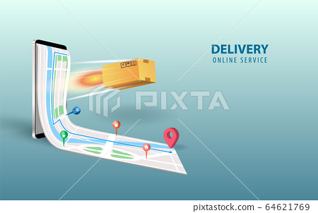 Online delivery smartphone concept idea.Fast 64621769