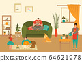 Family characters at home with kids spending time together, mother, father, daughter and son playing at home flat vector illustration. 64621978