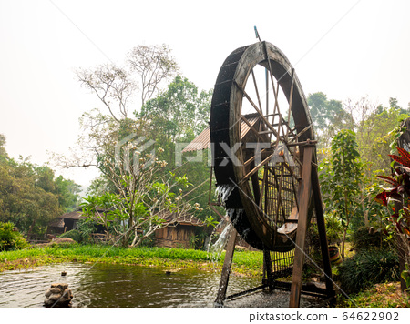 Turbine wooden Rotating water at Chae Son National park 64622902