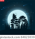Silhouette with moonlight and stars. 64623039